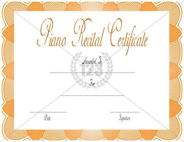 Piano Recital Certificate Template Piano Recital Certificate Template Download Free or