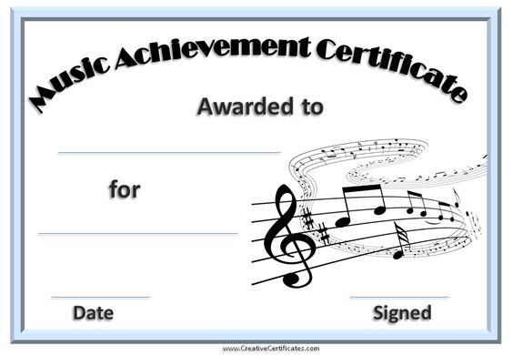 Piano Recital Certificate Template Printable Music Certificate with A Light Blue Border