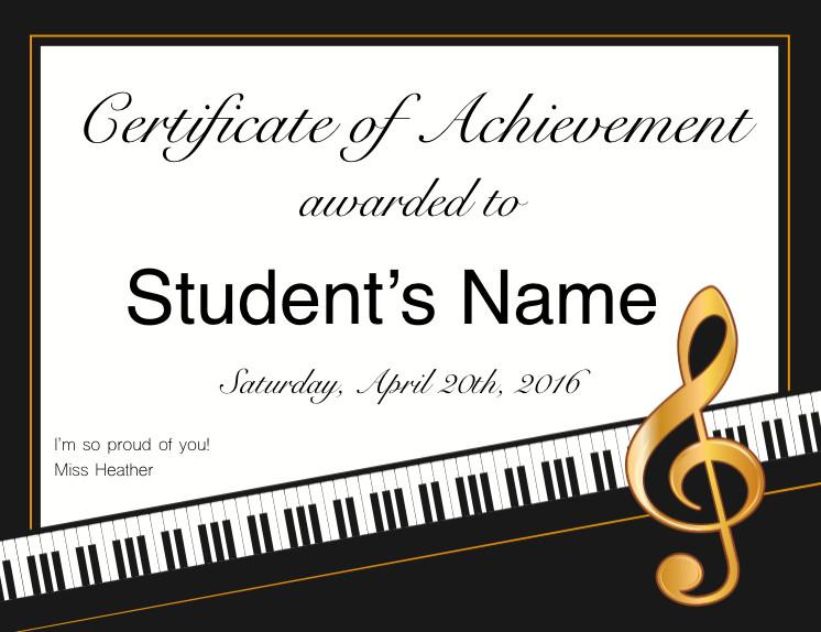 Piano Recital Certificate Template Recitals Awards & Goo S Fun Key Music