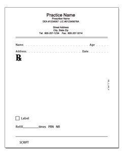 Picture Of Prescription Pad Printed Prescription Pads