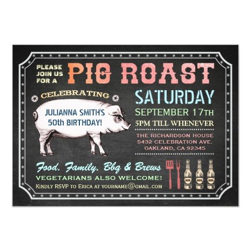 Pig Roast Invitation Template Free Chalkboard Pig Roast Invitations Classy & Casual