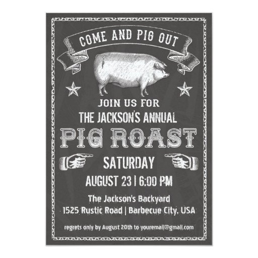 Pig Roast Invitation Template Free Chalkboard Vintage Pig Roast Invitation