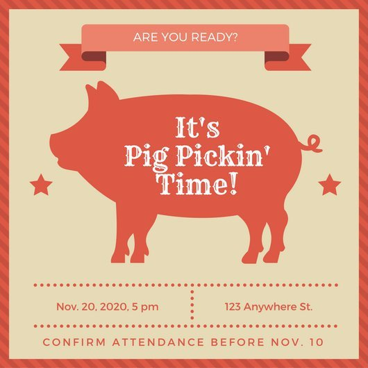 Pig Roast Invitation Template Free Customize 55 Pig Roast Invitation Templates Online Canva