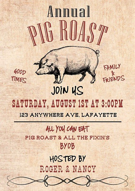 Pig Roast Invitation Template Free Pig Roast Invitations