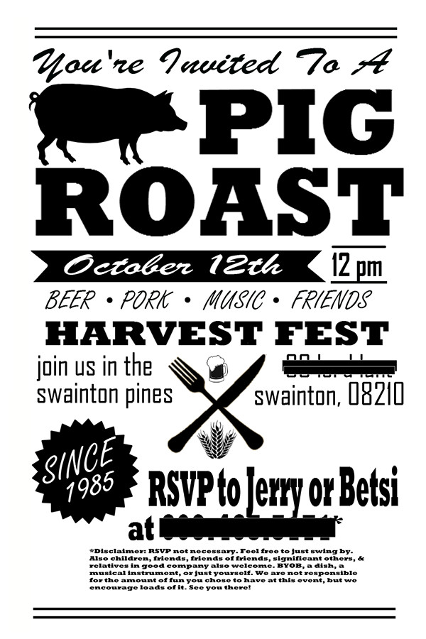 Pig Roast Invitation Template Free Pig Roast Party Invitation Flyer Post Card On Behance