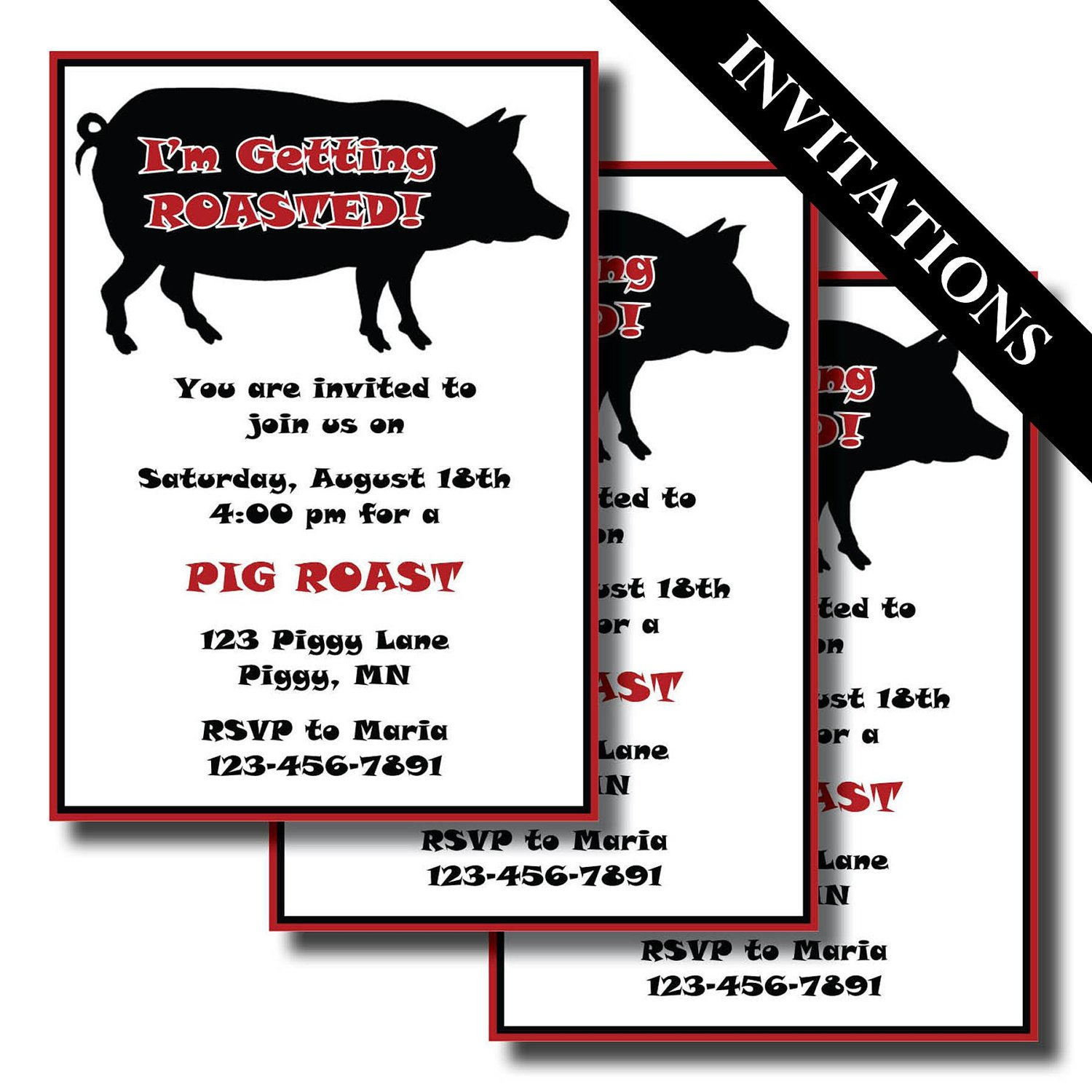 Pig Roast Invitation Template Free Pig Roast Printable Invitation and Party by Lesliemariedesigns