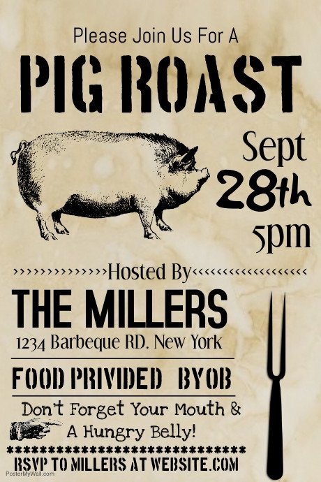 Pig Roast Invitation Template Free Pig Roast Template