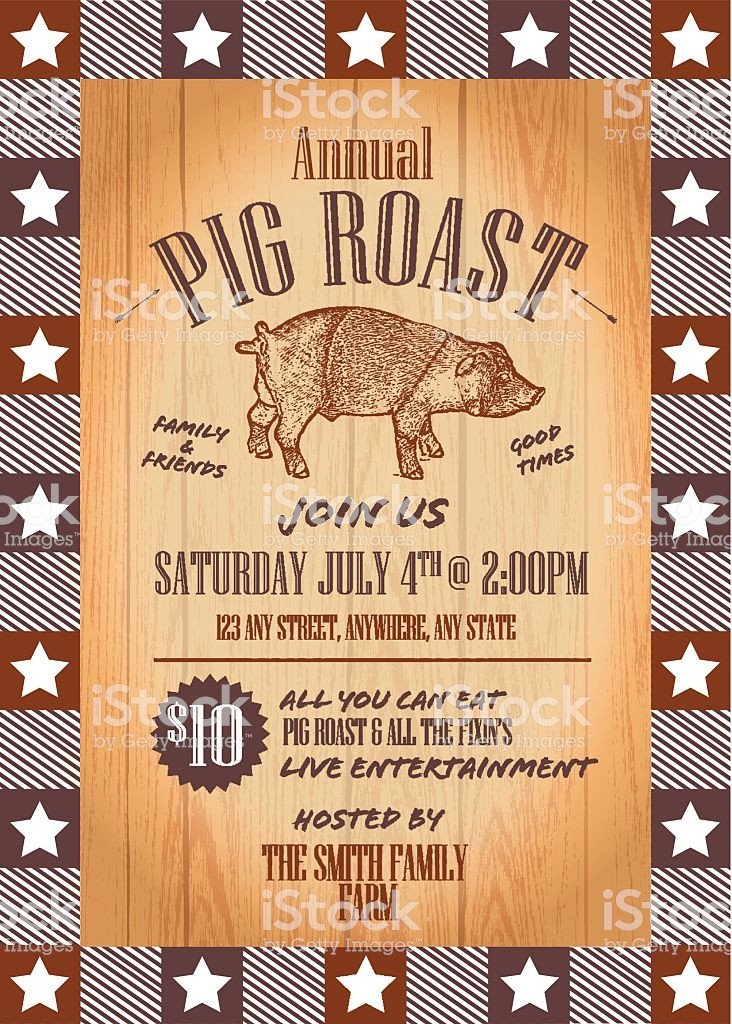 Pig Roast Invitation Template Free Summer Bbq Pig Roast Invitation Design Template Stock