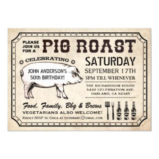Pig Roast Invitation Template Free Ticket Style Invitations & Announcements