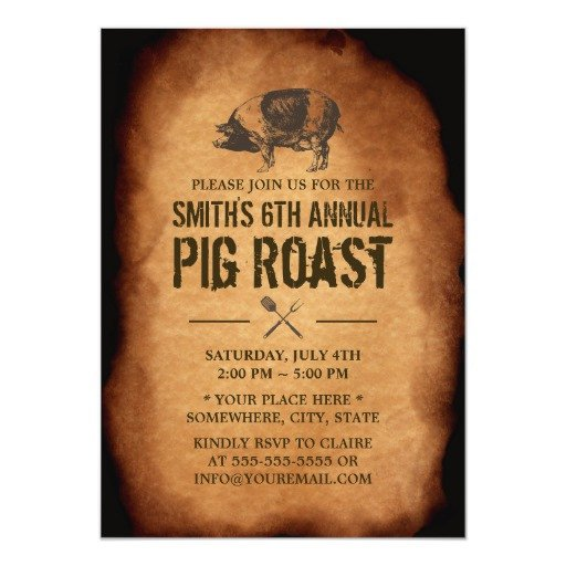 Pig Roast Invitation Template Free Vintage Old Annual Pig Roast Bbq Party Invitations