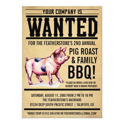"Pig Roast Invitation Template Free Vintage Pig Roast Family Bbq Invitations 5"" X 7"