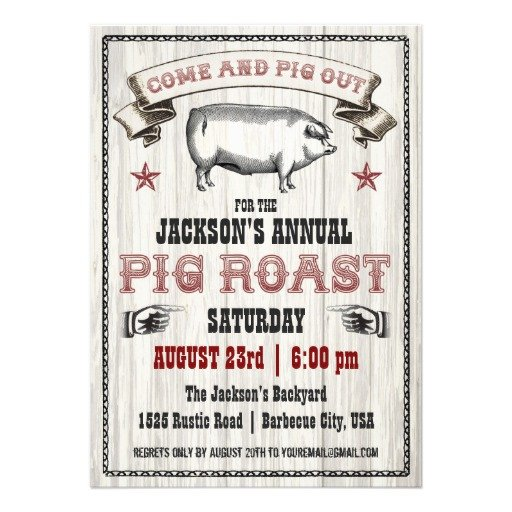 Pig Roast Invitation Template Free Vintage Pig Roast Invitation On Wood
