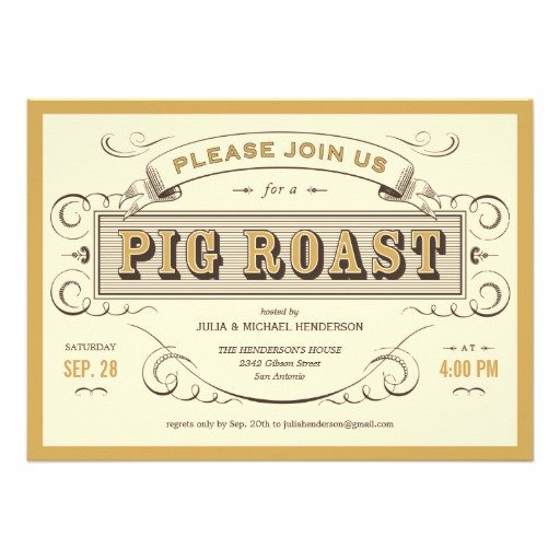 "Pig Roast Invitation Template Free Vintage Pig Roast Invitations 5"" X 7"" Invitation Card"