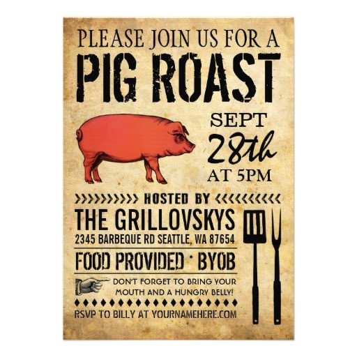 "Pig Roast Invitation Template Free Vintage Rustic Pig Roast Invitation Ii 5"" X 7"" Invitation"