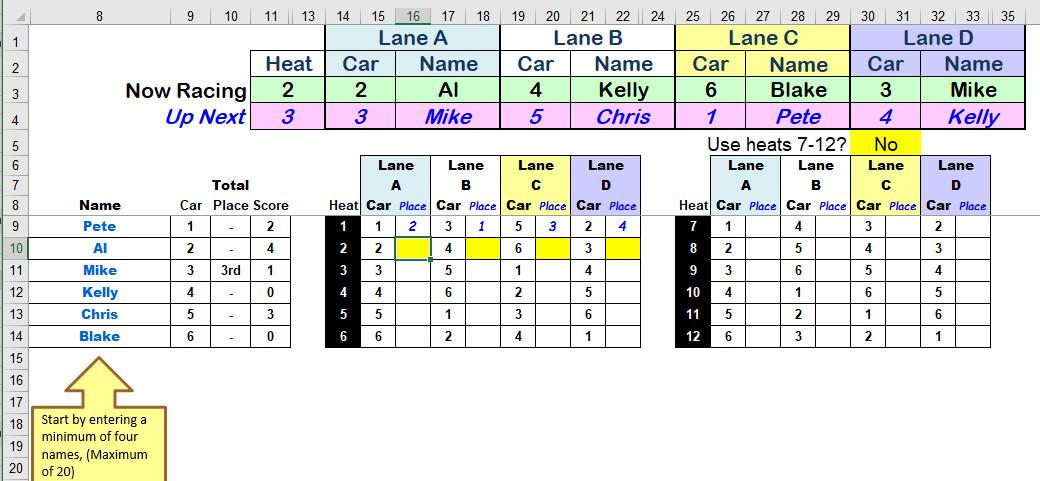 Pinewood Derby Scoring Spreadsheet Pinewood Derby Spreadsheet