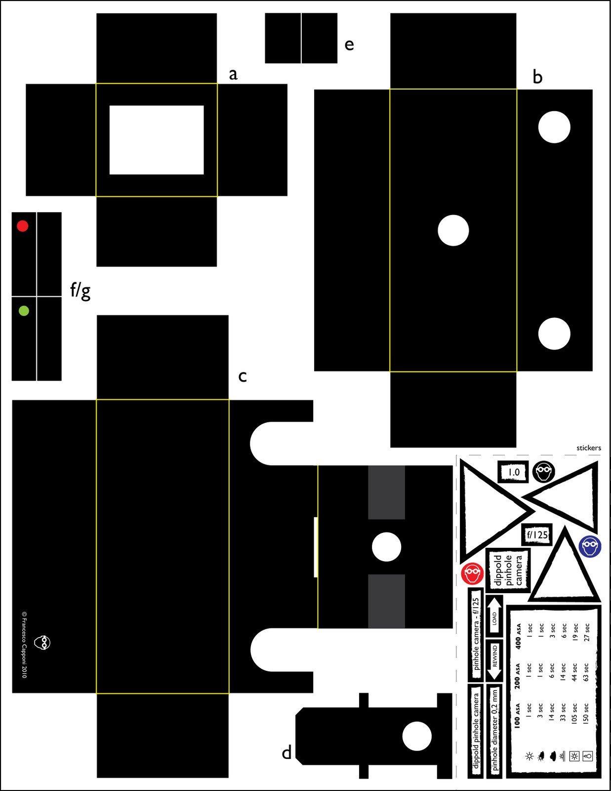 Pinhole Camera Template the Lab Template for A 35mm Pinhole Camera