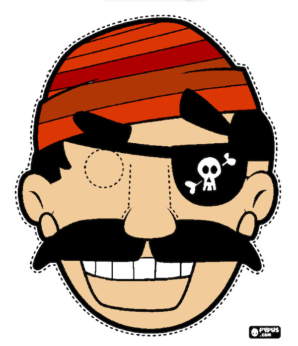 Pirate Mask Template Free Printable Halloween Masks Color and Print Your Own