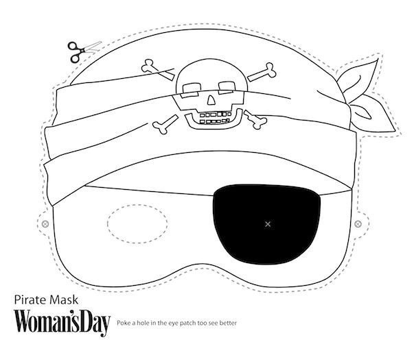 Pirate Mask Template Free Printable Halloween Masks Print and Color Pirate