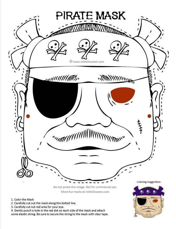 Pirate Mask Template Pirate Mask Coloring Page Printout More Fun at