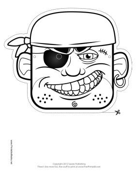 Pirate Mask Template Printable Bandana Pirate Mask to Color Mask