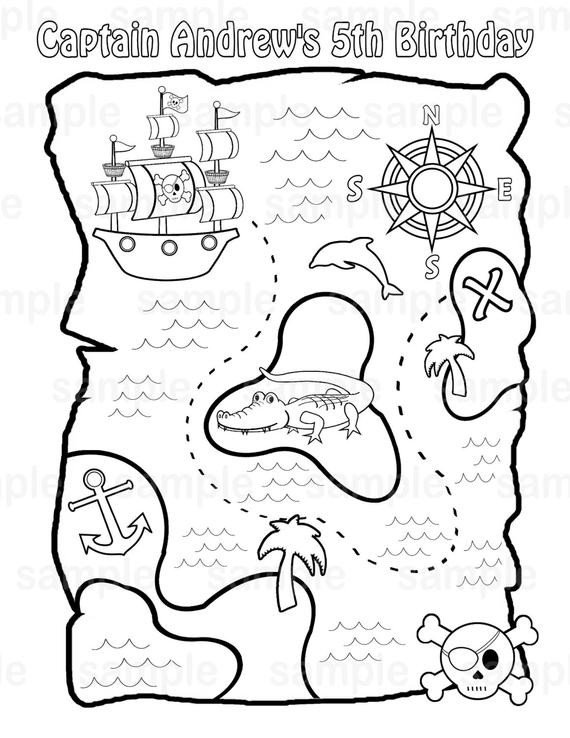Pirate Treasure Map Template Personalized Printable Pirate Treasure Map Birthday Party