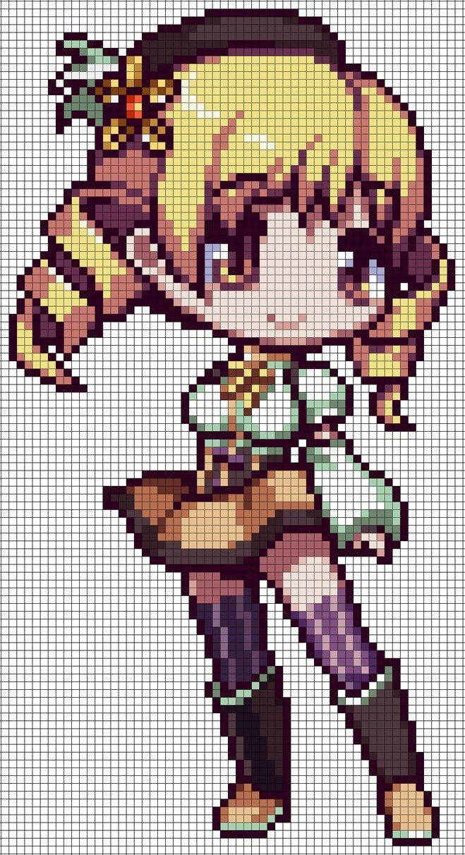 "Pixel Art Grid Anime A Pattern Featuring Homura Akemi From ""puella Magi Madoka"