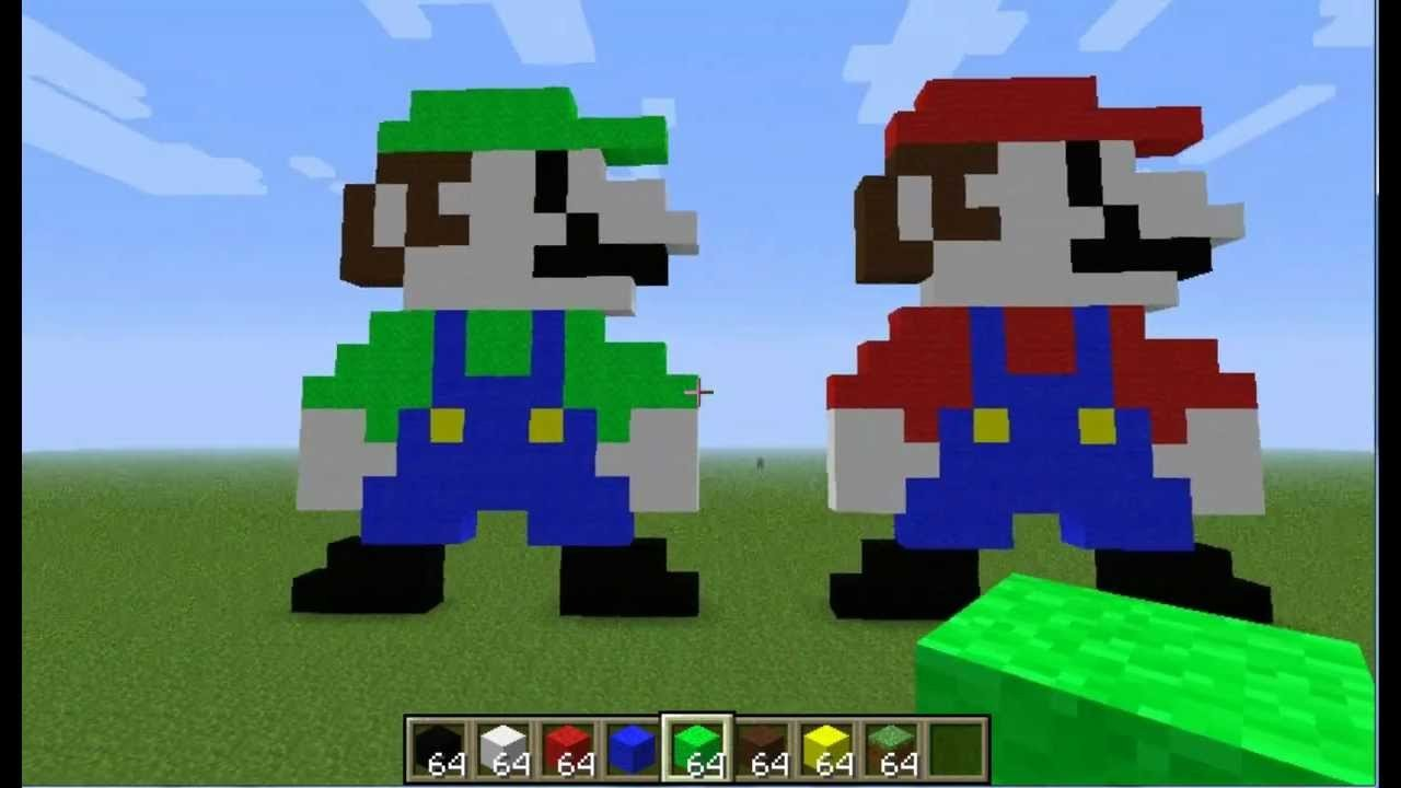 Pixel Arts In Minecraft Minecraft Pixel Art Tutorial Mario & Luigi
