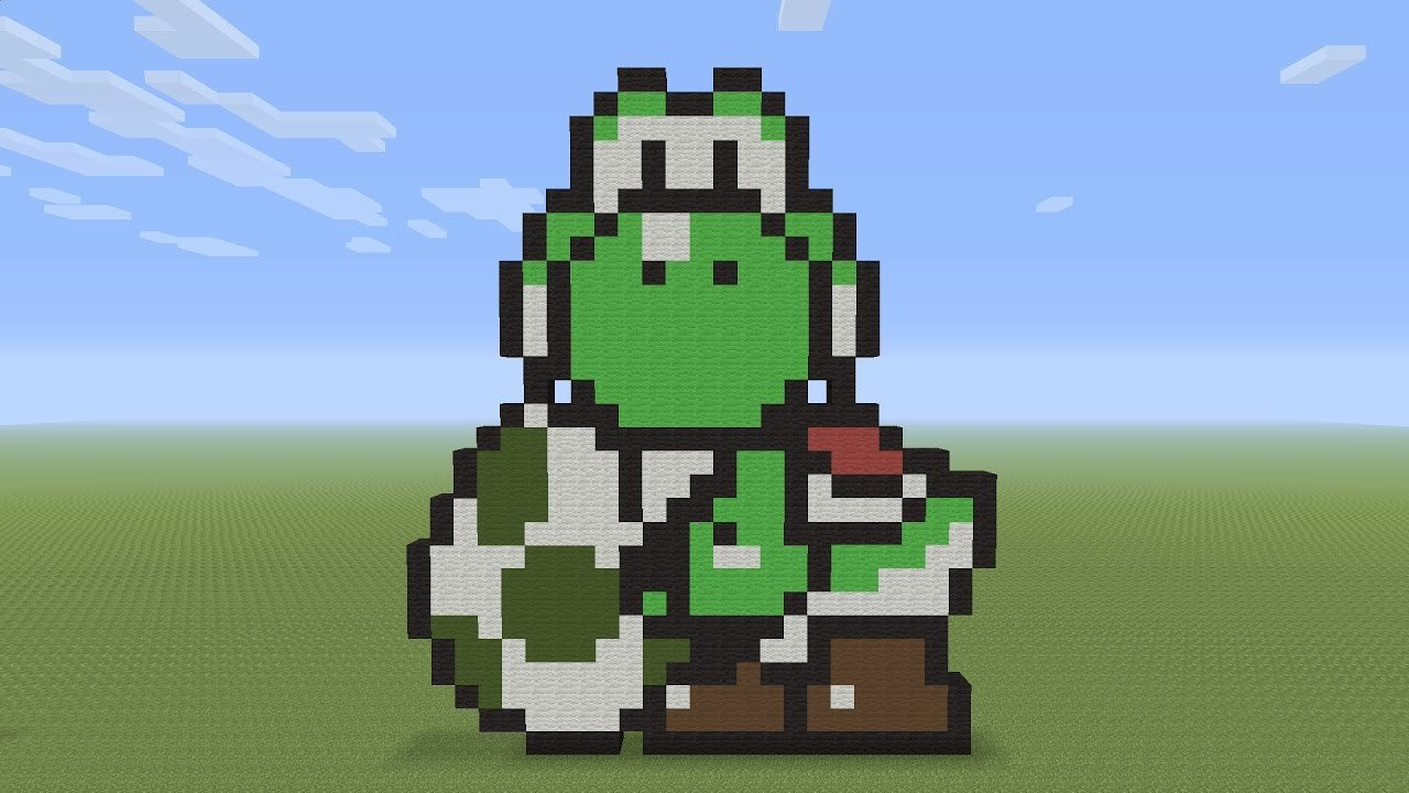 Pixel Arts In Minecraft Minecraft Pixel Art Yoshi and Egg