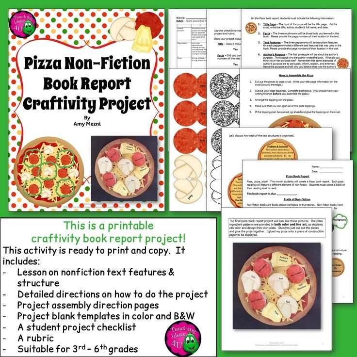 Pizza Book Report Template 8 Best Pizza Book Report Images On Pinterest