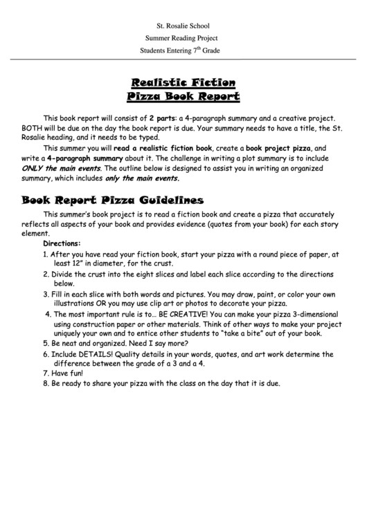 Pizza Book Report Template Realistic Fiction Pizza Book Report Template Printable Pdf