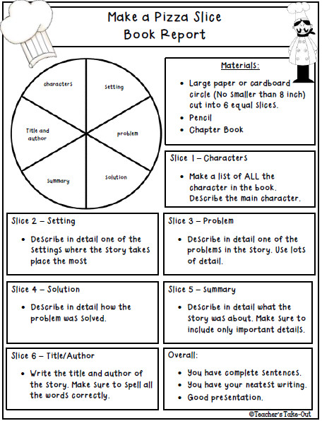 Pizza Book Report Template Teacher S Take Out Literature Informational Text