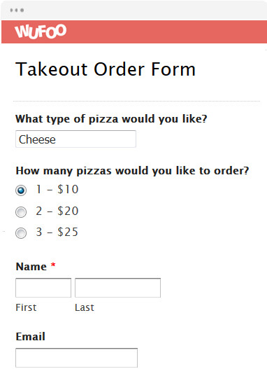 Pizza order form Template Line order form Templates