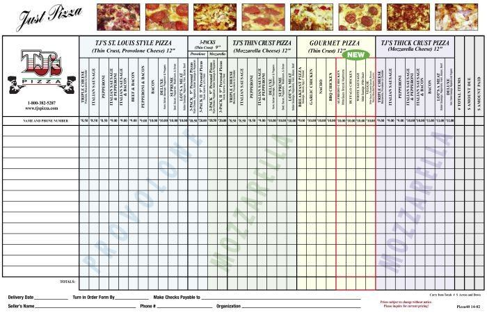 Pizza order form Template Tj S Pizza order form Parent Groups School