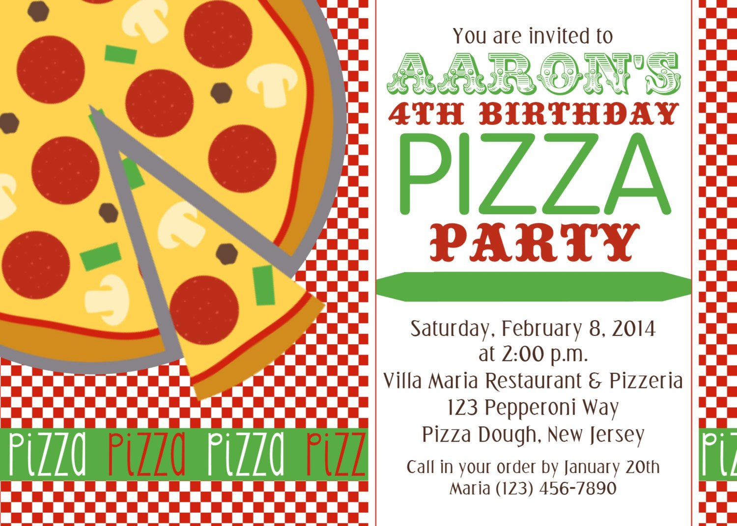 Pizza Party Invite Template Chandeliers & Pendant Lights