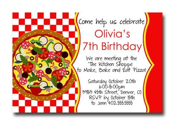 Pizza Party Invite Template Custom Pizza Party Red Checker Birthday Party Invitation Card