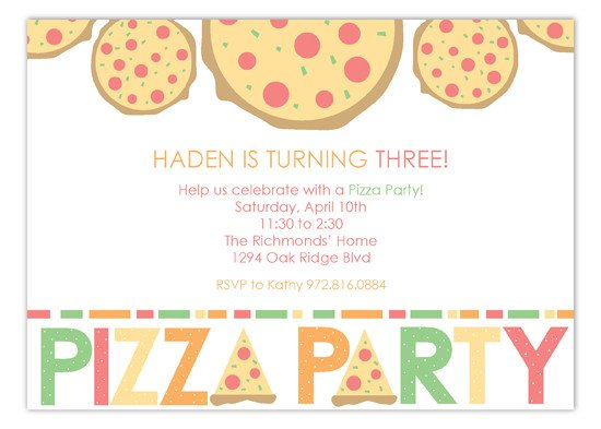Pizza Party Invite Template Haden is Turning Three Pizza Party Invitations