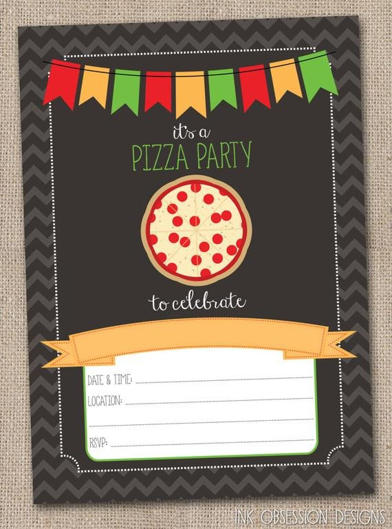 Pizza Party Invite Template Instant Download Pizza Party Invitation by Inkobsessiondesigns