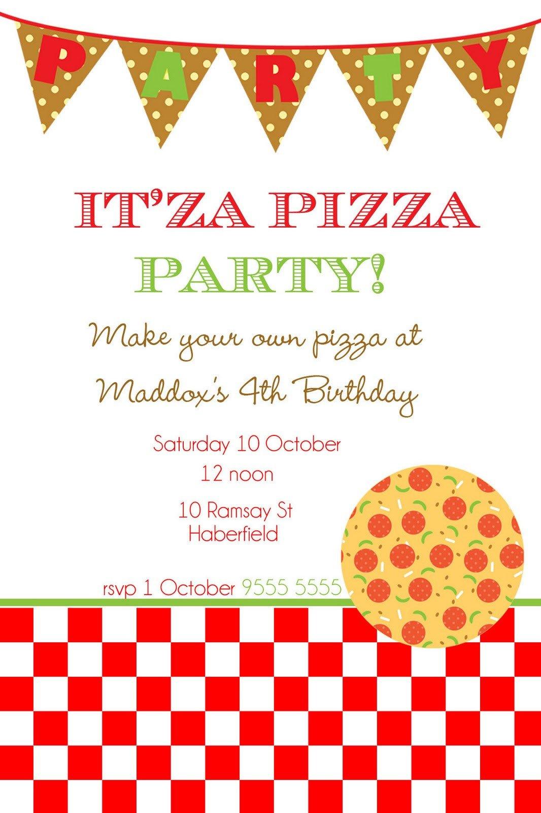 Pizza Party Invite Template Mon Tresor March 2011