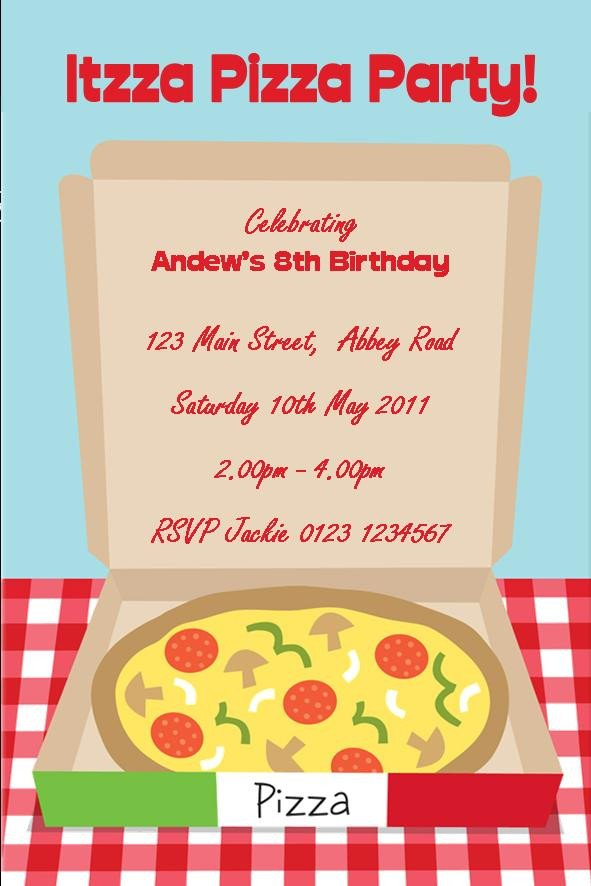 Pizza Party Invite Template Personalised Pizza Party Invitations