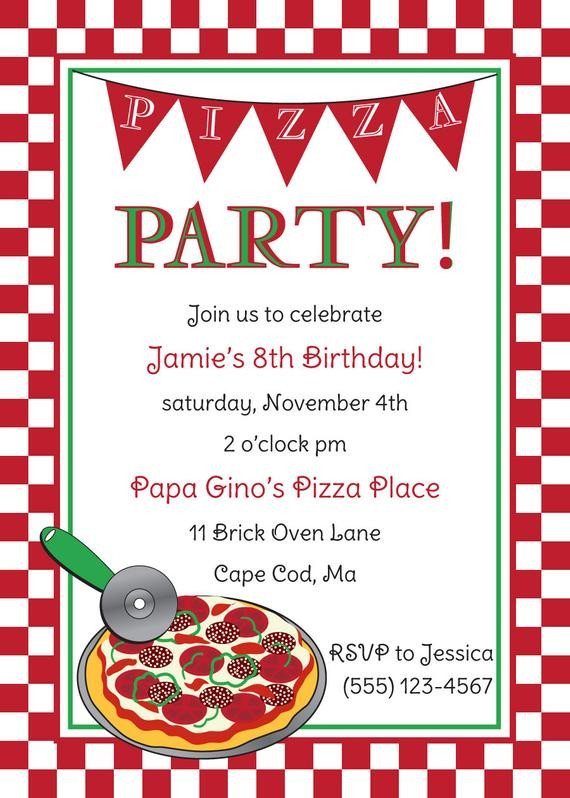 Pizza Party Invite Template Pizza Party Birthday Invitation by Anchorbluedesign On Etsy