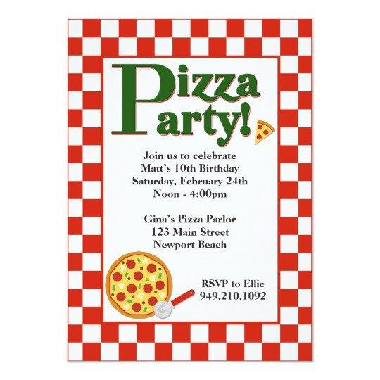 Pizza Party Invite Template Pizza Party Birthday Invitation