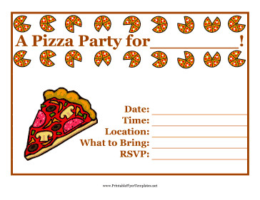 Pizza Party Invite Template Pizza Party Flyer