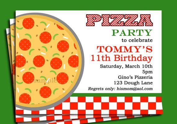 Pizza Party Invite Template Pizza Party Invitation Printable or Printed with Free Shipping