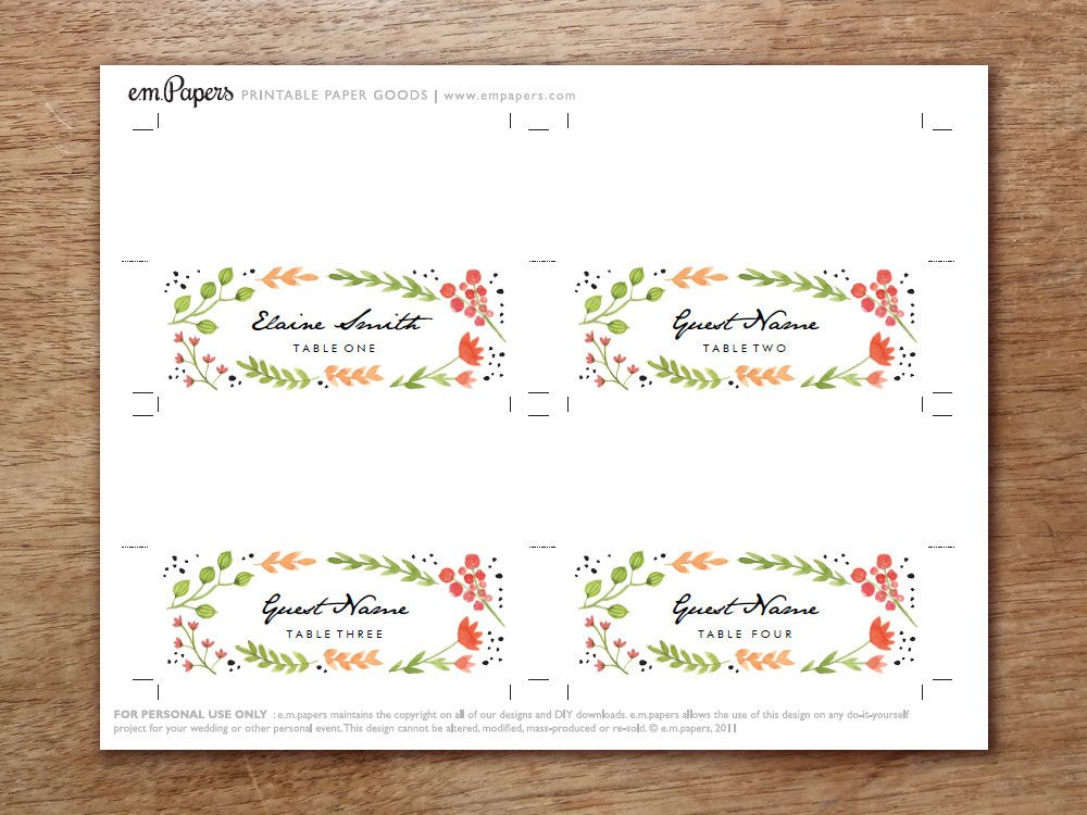 Place Card Template Free Printable Place Cards Place Card Template Download Water