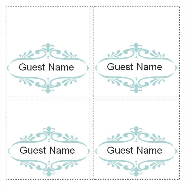 Place Card Template Free Sample Place Card Template 6 Free Documents Download In