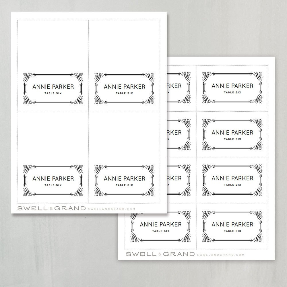 Place Card Template Word Printable Place Card Template Instant Download by