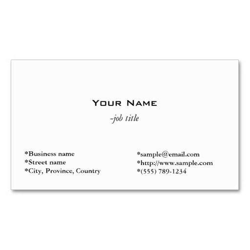 Plain Business Card Template 17 Best Images About Plain Minimalist Business Cards On