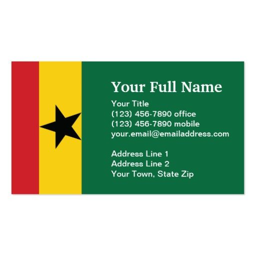 Plain Business Card Template Ghana Plain Flag Business Card Template