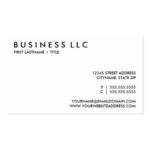 Plain Business Card Template Plain Black and White