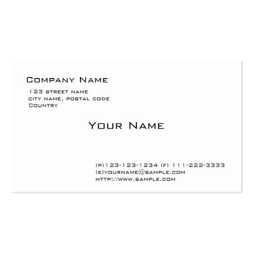 Plain Business Card Template Plain White Pack Of Standard Business Cards
